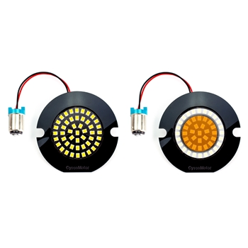 "AC11 LED 1157 Front Turn Signal / Running Light Bulbs for Harley Davidson,  3 25"" Flat Style Pancake Housings, Pair, White Halo Ring + Amber"