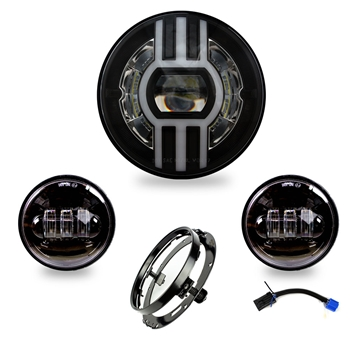 "6800 Lumens Beast-II LED headlight Kit for Harley Davidson Electra Glide 2013 and older / Road King  2015 and older, 7"" Headlight + Passing Lamp"