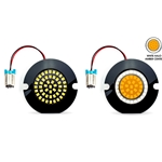 "AC11 LED 1157 Front Turn Signal / Running Light Bulbs for Yamaha  3"" Housings, Pair,  White Halo Ring + Amber"