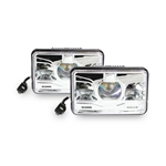 "4x6"" LED Truck Headlight, DOT Approved 72W Chrome, H4 / 4656, Pair"