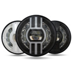 Headlight + DRL, Integrated 7'75W Blk 'BEAST' long throw beam ABIG7-B6K
