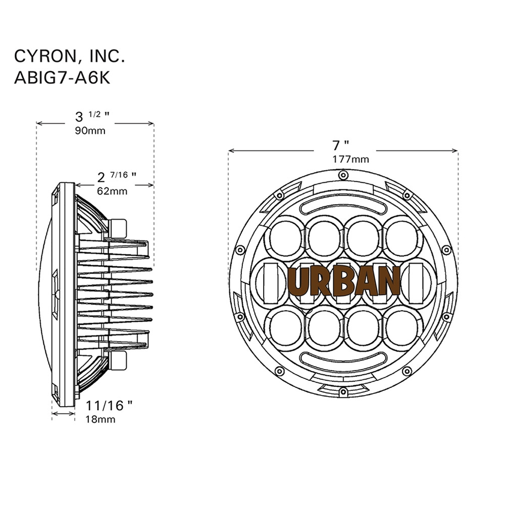 7 Urban Motorcycle Headlight Drl Integrated Osram Led 105w Wide Angle Beam Black Or Chrome Harley Fog Lights Wiring Diagram
